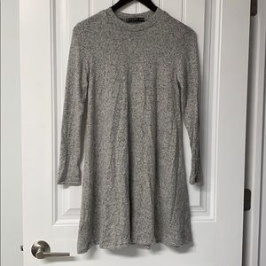 Grey Long Sleeve Sweater Dress